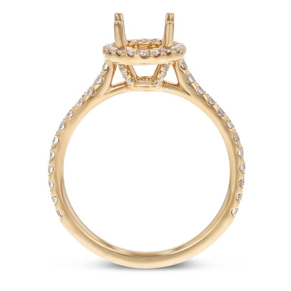 18K Rose Gold Semi-mount Ring, 0.51 Carats