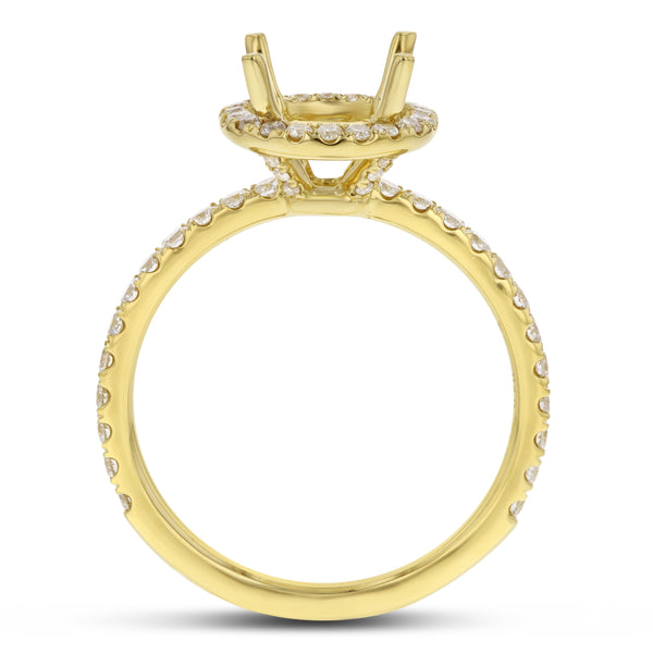 18K Yellow Gold Semi-mount Ring, 0.60 Carats