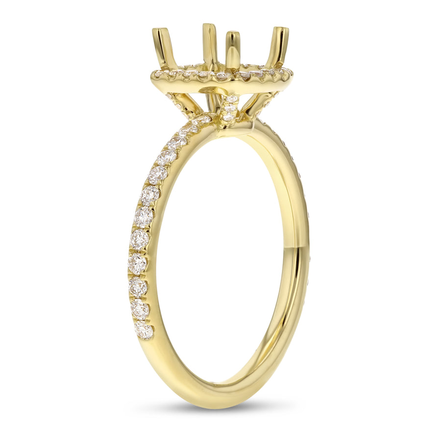 18K Yellow Gold Semi-mount Ring, 0.53 Carats