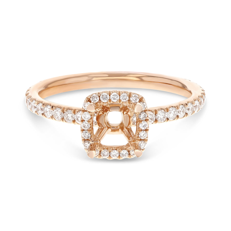 18K Rose Gold Semi-mount Ring, 0.47 Carats - R&R Jewelers
