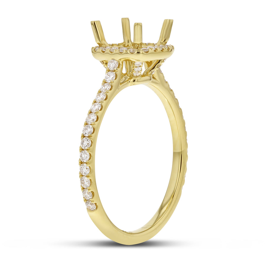 Cathedral Diamond Halo Semi Mount Ring - R&R Jewelers