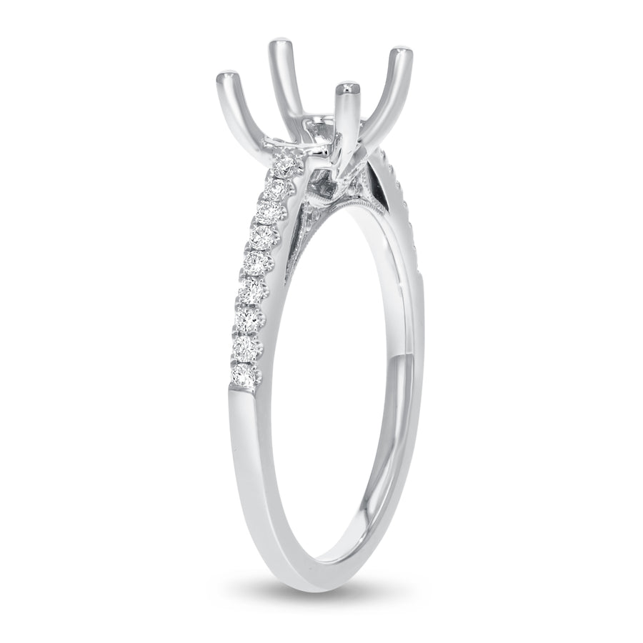 18K White Gold Semi-mount Ring, 0.19 Carats