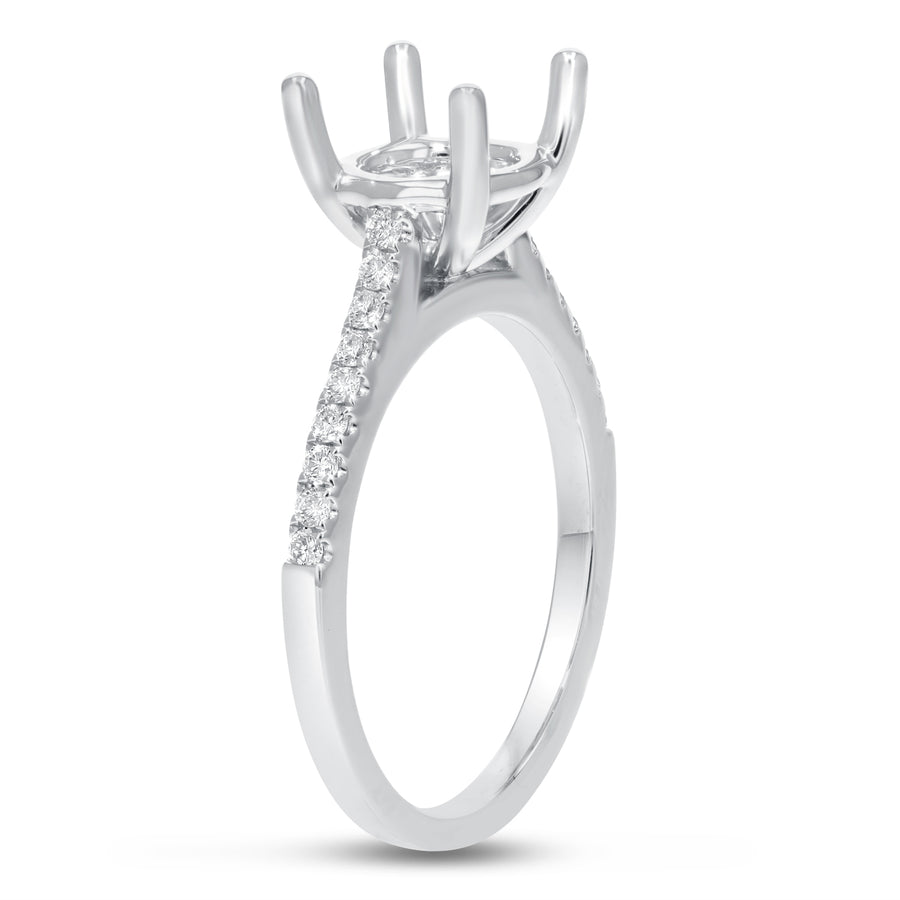 18K White Gold Semi-mount Ring, 0.20 Carats - R&R Jewelers