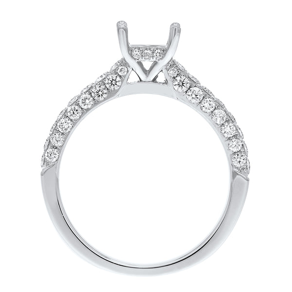 18K White Gold Semi-mount Ring, 0.81 Carats