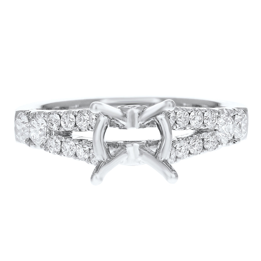 18K White Gold Semi-mount Ring, 0.75 Carats - R&R Jewelers