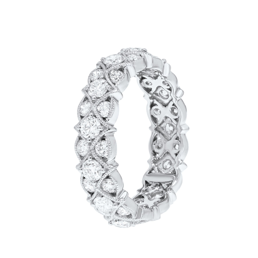 Diamond White Gold Garland Eternity Ring, 1.94 Carats