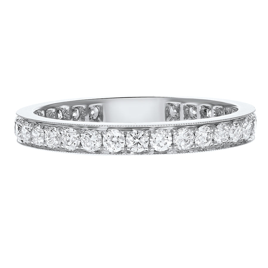 Diamond White Gold Eternity Band, 0.93 Carats