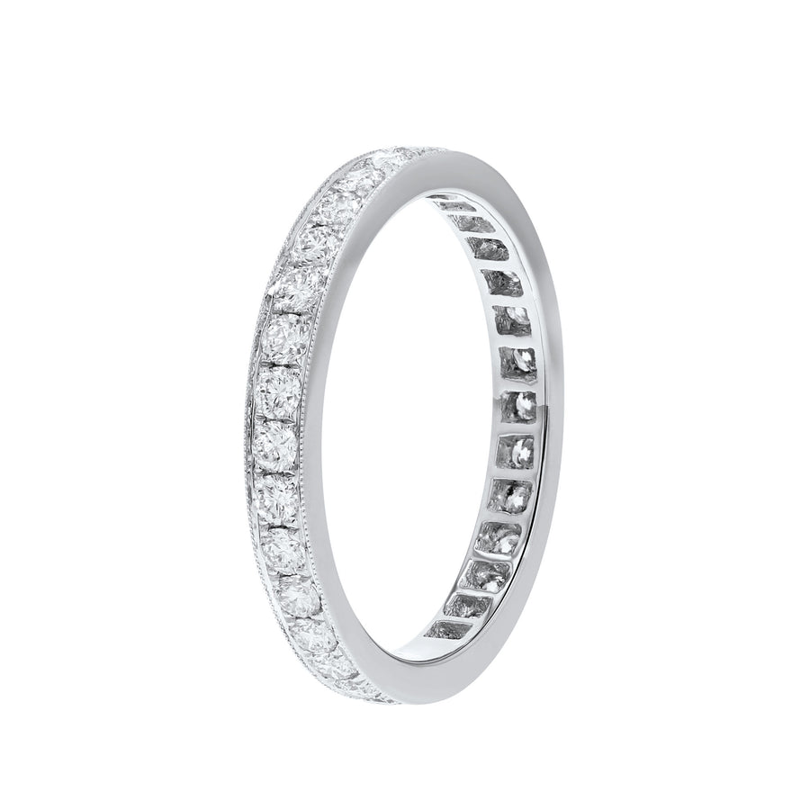 18K White Gold Diamond Wedding Band, 0.93 Carats