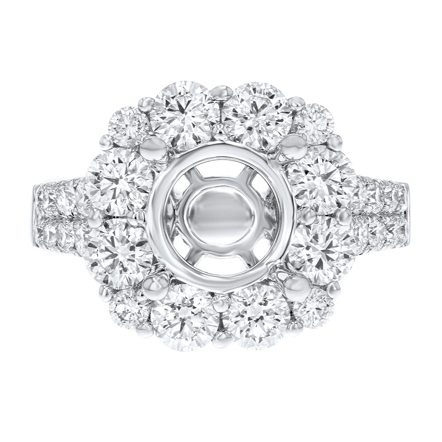 18K White Gold Semi-mount Ring, 2.21 Carats