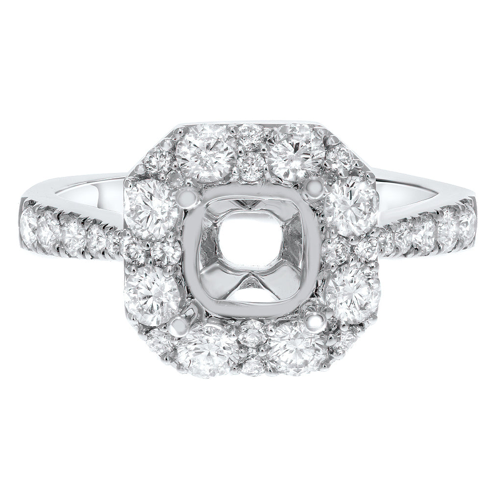 18K White Gold Semi-mount Ring, 0.98 Carats