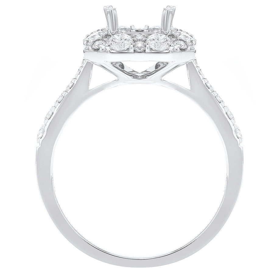Tapered Diamond Halo Semi Mount Ring - R&R Jewelers