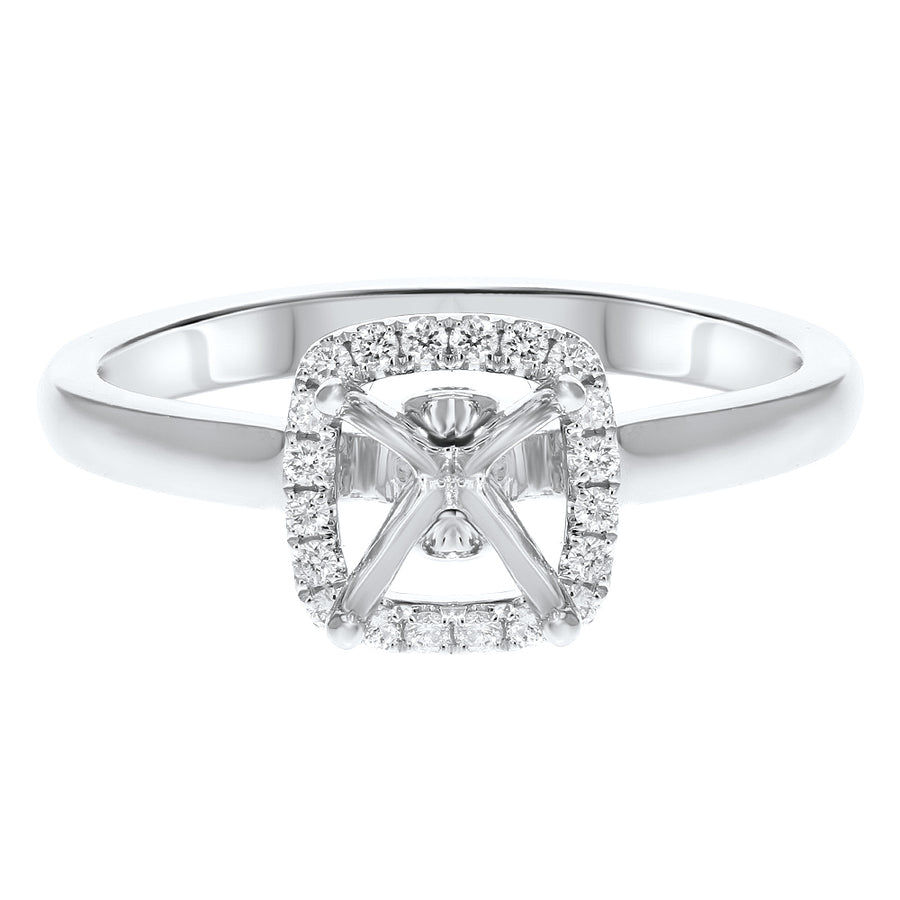 18K White Gold Semi-mount Ring, 0.16 Carats - R&R Jewelers