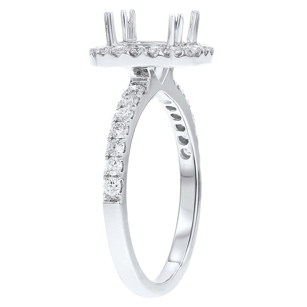 18K White Gold Semi-mount Ring, 0.60 Carats