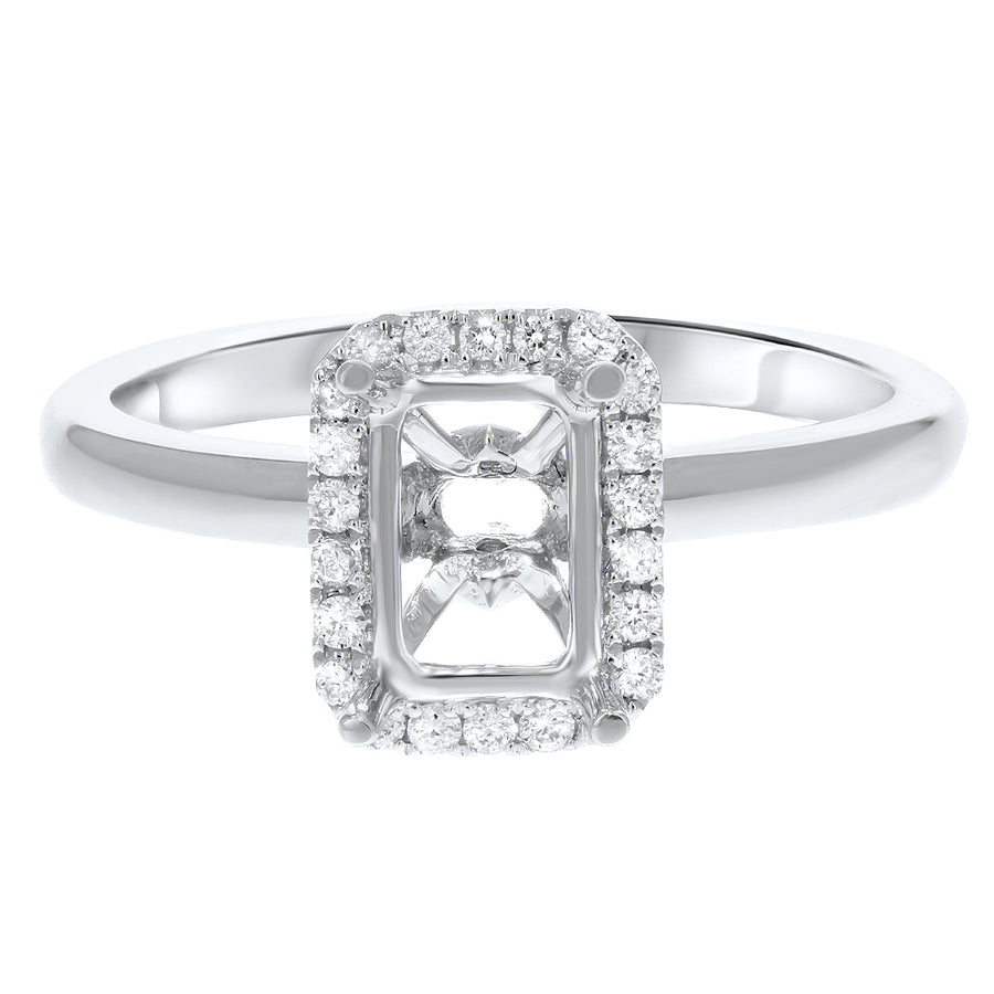 18K White Gold Semi-mount Ring, 0.15 Carats