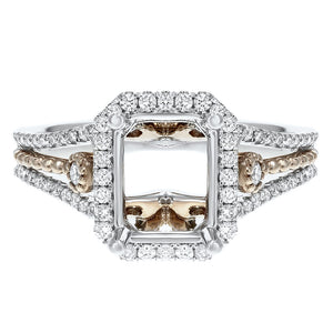 18K White and Rose Gold Semi-mount Ring, 0.49 Carats