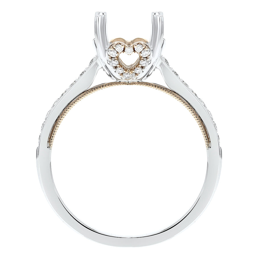 18K White and Rose Gold Semi-mount Ring, 0.26 Carats - R&R Jewelers