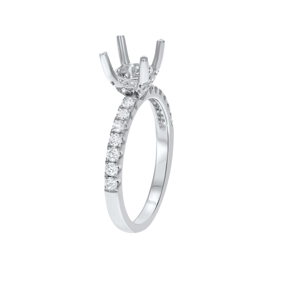 18K White Gold Semi-mount Ring, 0.46 Carats