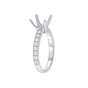 18K White Gold Semi-mount Ring, 0.47 Carats - R&R Jewelers