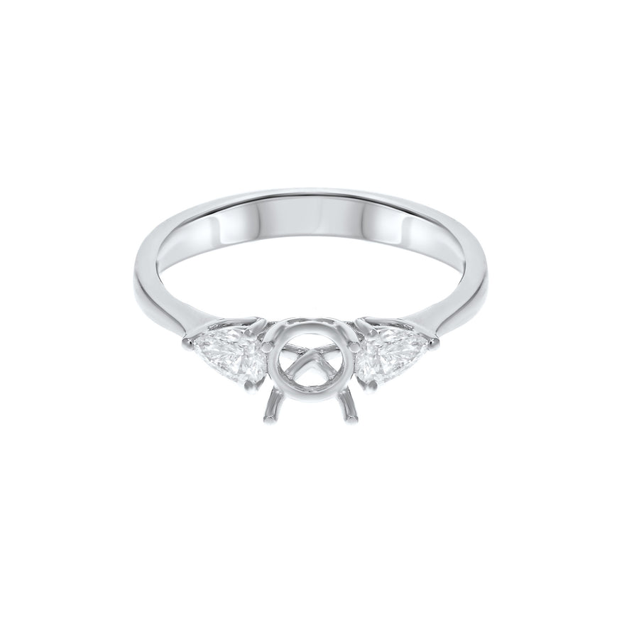 18K White Gold Semi-mount Ring, 0.37 Carats - R&R Jewelers