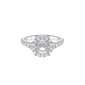 18K White Gold Semi-mount Ring, 0.79 Carats