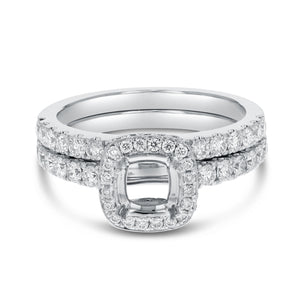 18K White Gold Wedding and Engagement Ring Set, 1.09 Carats