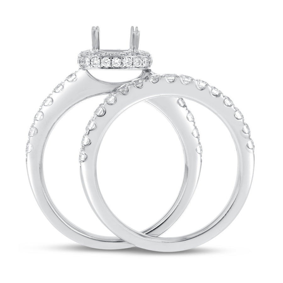 18K White Gold Wedding and Engagement Ring Set, 1.09 Carats - R&R Jewelers