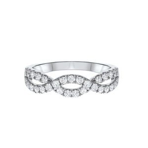 18K White Gold Diamond Wedding Band, 0.61 Carats