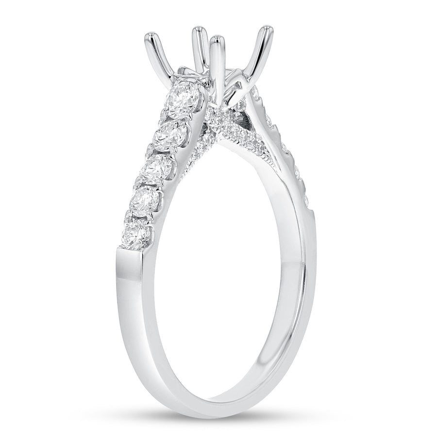18K White Gold Semi-mount Ring, 0.72 Carats - R&R Jewelers