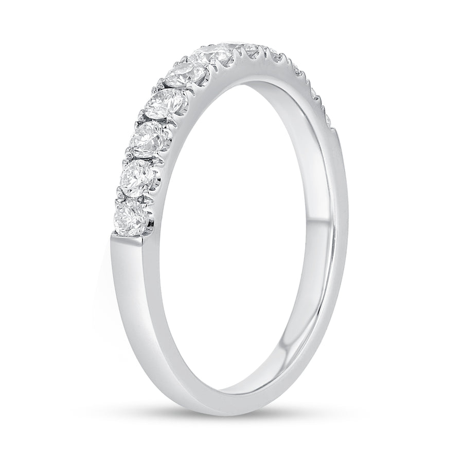 18K White Gold Diamond Wedding Band, 0.52 Carats