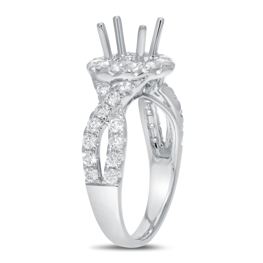 18K White Gold Semi-mount Ring, 0.94 Carats