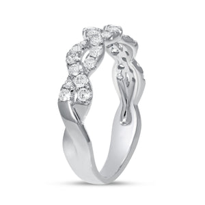 Infinity Twist Ring in 18K White Gold, 0.51 Carats