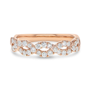 Infinity Twist Ring in 18K Rose Gold, 0.50 Carats