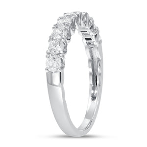 18K White Gold Diamond Wedding Band, 0.74 Carats