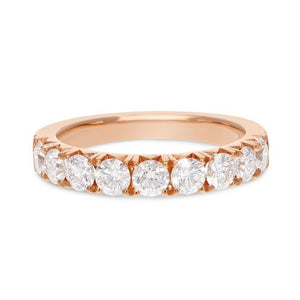18K Rose Gold Diamond Wedding Band, 1.25 Carats