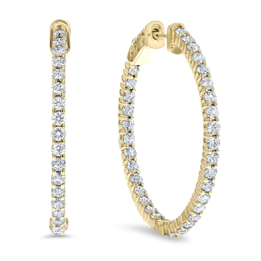 Inside Out Diamond Hoop Earrings, 2.00 ct - R&R Jewelers