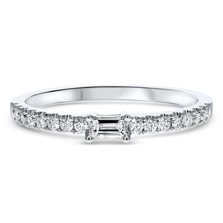 Baguette Centered Diamond Halfway Band - R&R Jewelers