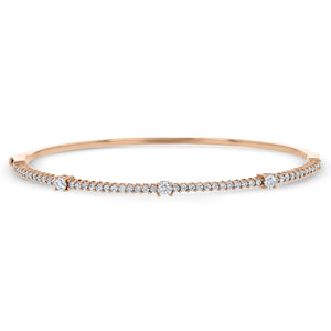 Shared Prong Diamond Rose Gold Bangle - R&R Jewelers