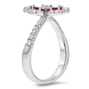 Diamond and Ruby Floral Ring - R&R Jewelers