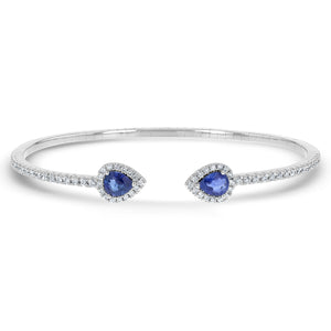 Diamond and Sapphire Cuff Bangle - R&R Jewelers