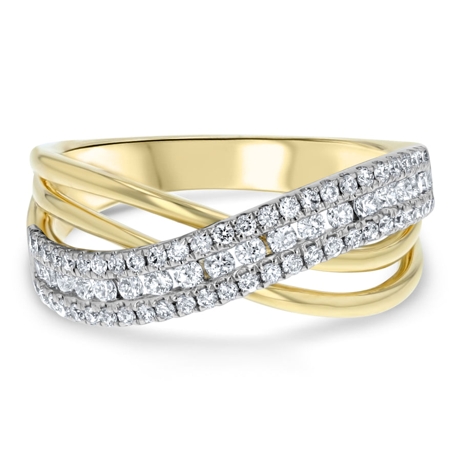 Diamond Cross Over Statement Ring - R&R Jewelers