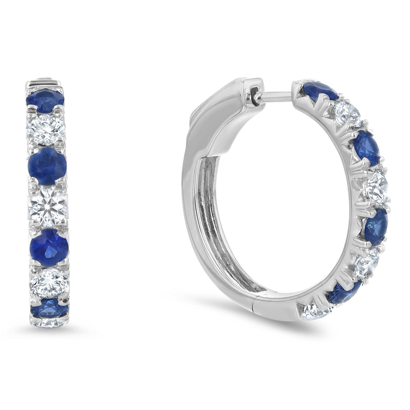 Alternating Diamond and Sapphire Huggie Earrings - R&R Jewelers