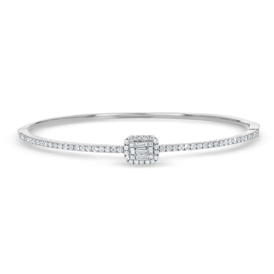 Single Station Diamond Cluster Bangle, 0.90ct - R&R Jewelers