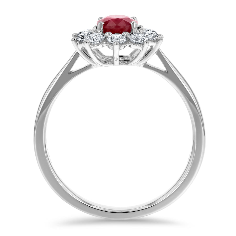 Diamond Halo Ruby Ring - R&R Jewelers