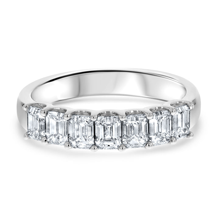Emerald Cut Halfway Diamond Wedding Band - R&R Jewelers