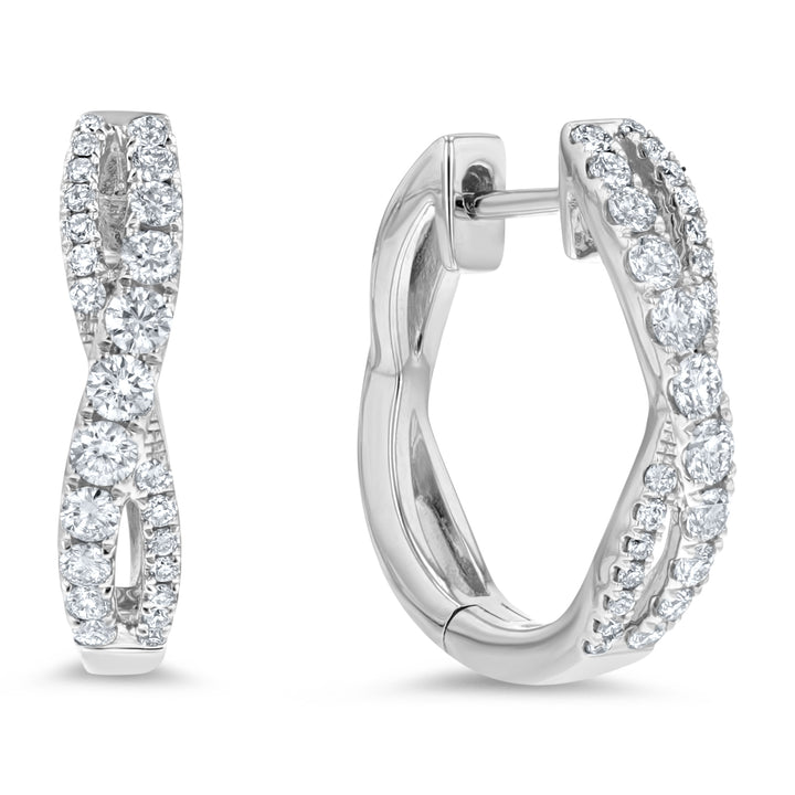 Diamond Infinity Twist Hoop Earrings, 0.65 ct - R&R Jewelers