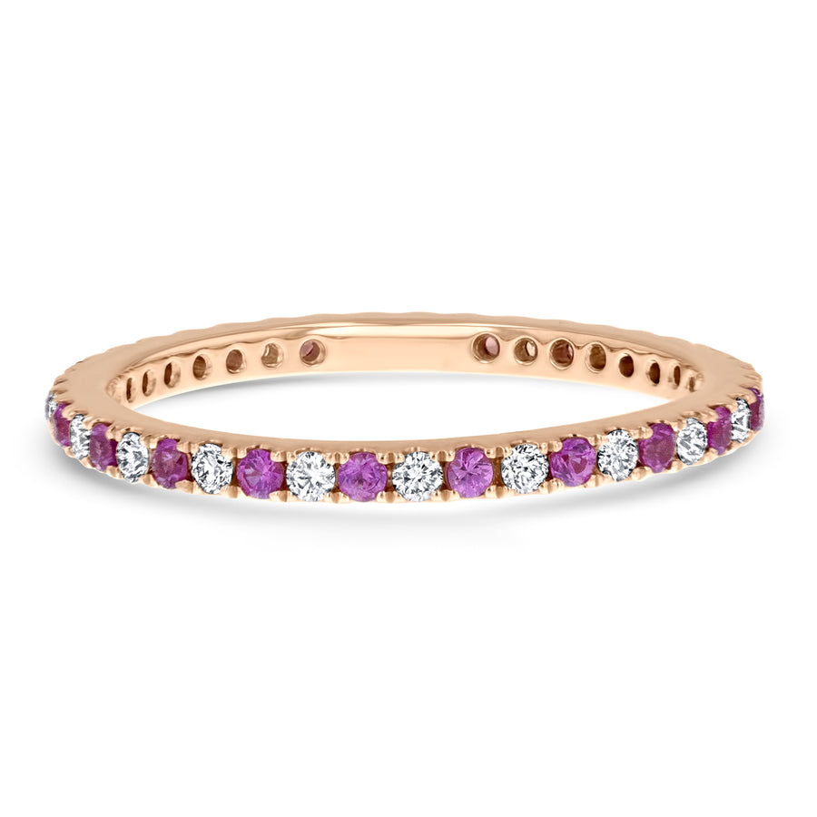 Alternating Diamond and Pink Sapphire Eternity Ring - R&R Jewelers