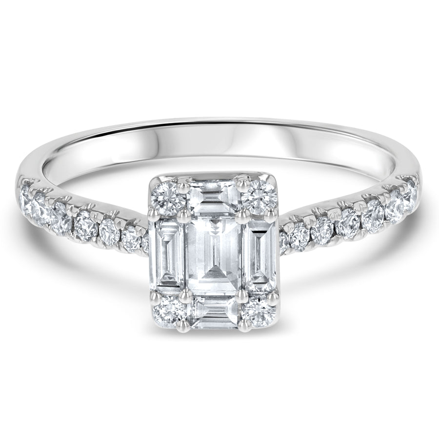 Round Baguette Cluster Engagement Ring