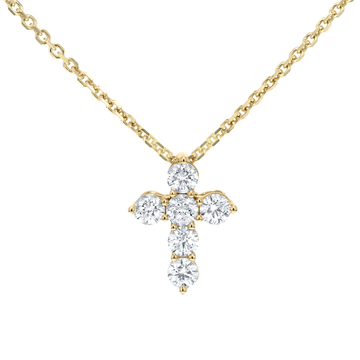 Round Brilliant Diamond Cross Pendant, 0.57 Carats - R&R Jewelers
