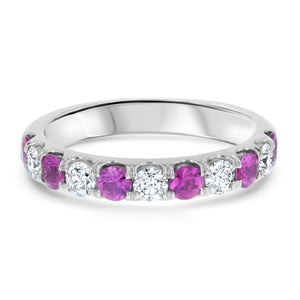 Alternating Diamond and Pink Sapphire Ring - R&R Jewelers
