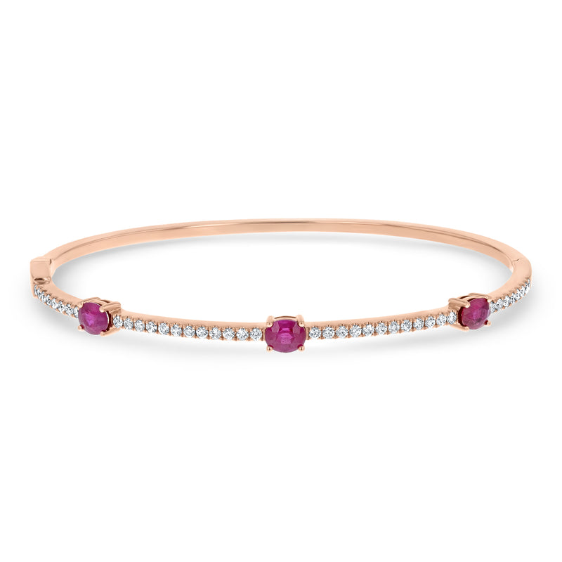 Diamond and Ruby Station Bangle - R&R Jewelers